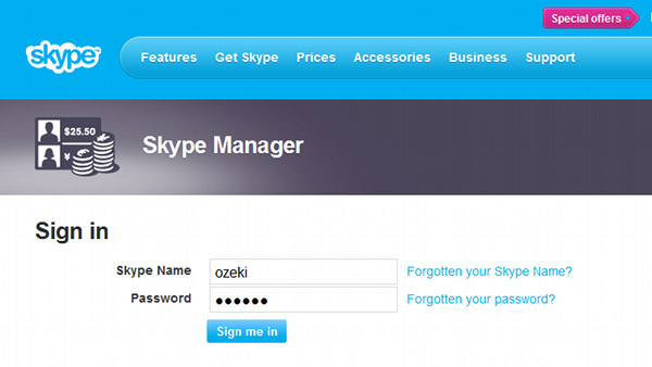 log into skype